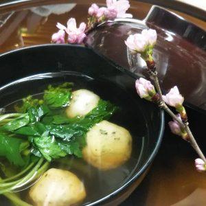 桜葉つみれと菜の花のお吸い物